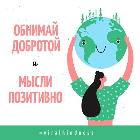 #ViralKindness Woman holding smiling Earth planet Instagram – шаблон для дизайна