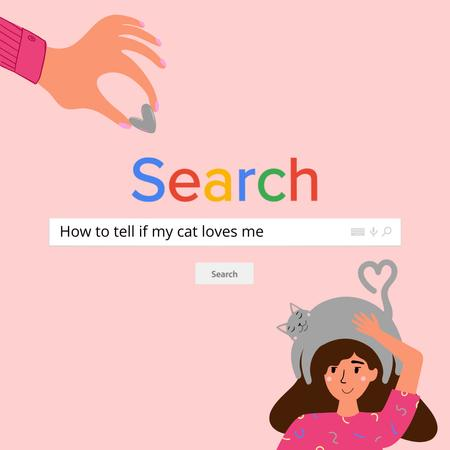 Woman holding Cute Cat on Head Instagram – шаблон для дизайну