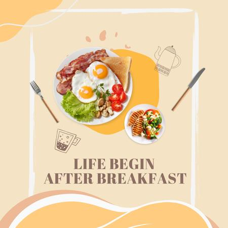Template di design Delicious Breakfast with Eggs and Bacon Instagram