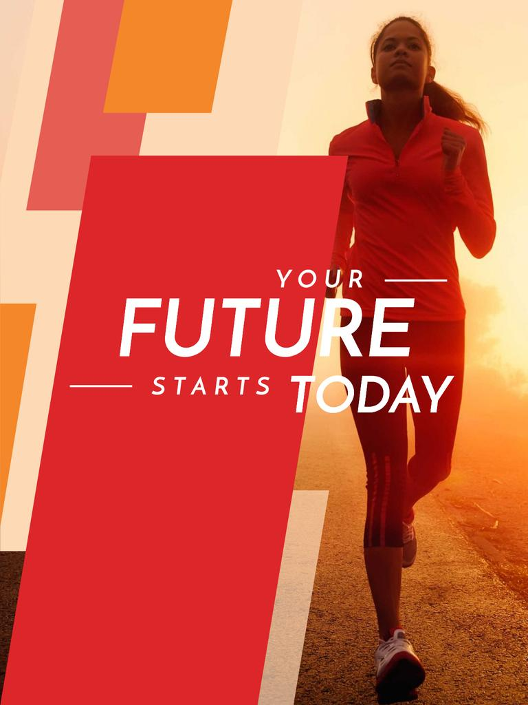 Motivational Sports Quote Running Woman in Red —デザインを作成する