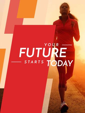 Motivational Sports Quote Running Woman in Red Poster US Design Template