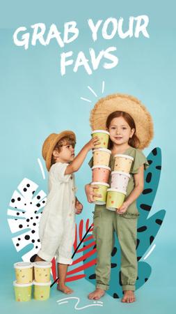 Plantilla de diseño de Cute Little Kids holding Ice Cream Bucket Instagram Story