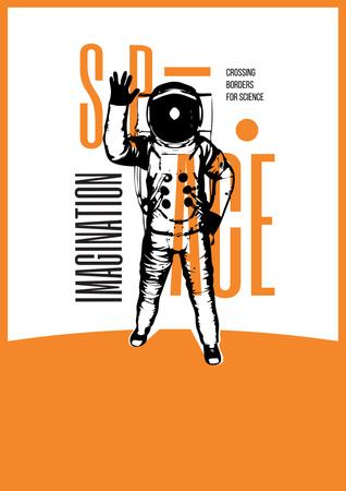 Space Exhibition with Astronaut Sketch in Orange Poster – шаблон для дизайну