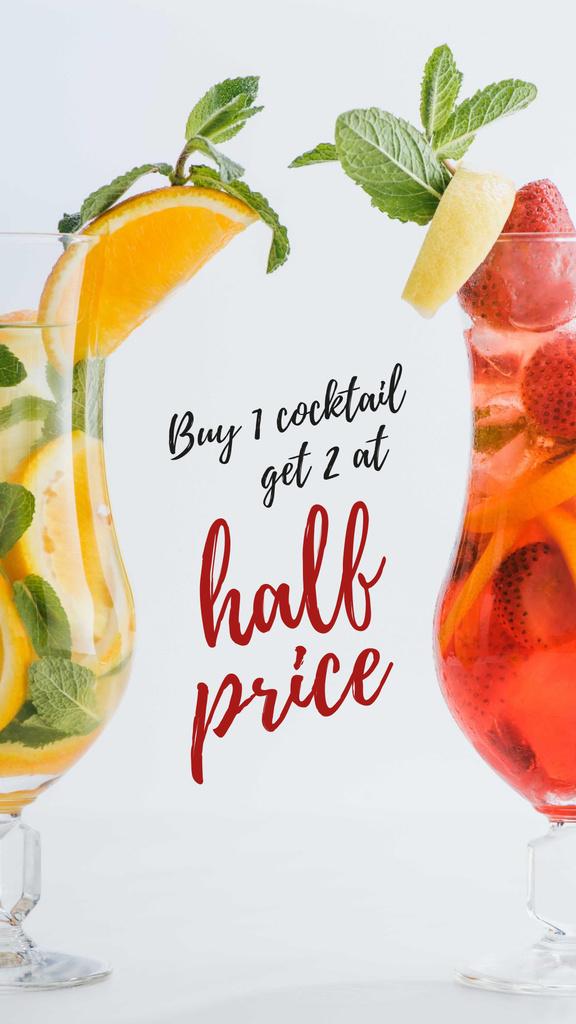 Half Price Offer with Cocktails in Glasses Instagram Story – шаблон для дизайна
