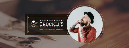 Plantilla de diseño de Barbershop Ad with Man shaves his Beard Facebook Video cover
