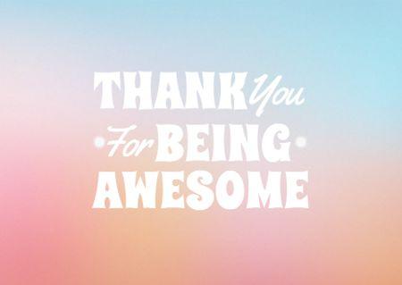 Plantilla de diseño de Cute Thankful Phrase on Colorful Gradient Card
