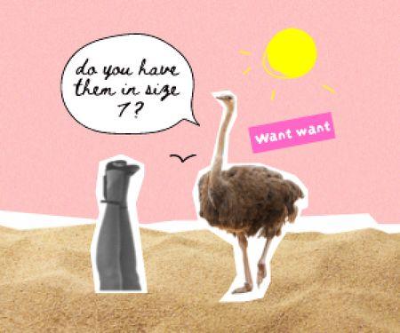 Funny Ostrich talking with Female Legs Medium Rectangle Modelo de Design