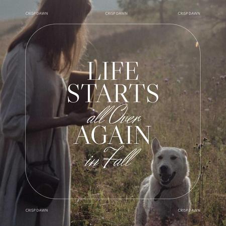 Autumn Inspiration with Woman walking with Happy Dog Instagram – шаблон для дизайну