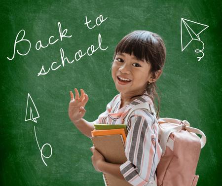 Plantilla de diseño de Back to School Announcement with Cute Pupil Girl Facebook