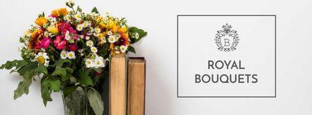 Plantilla de diseño de Cute Flower Bouquet with Old Books Facebook cover