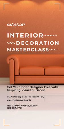 Interior decoration masterclass with Sofa in red Graphicデザインテンプレート