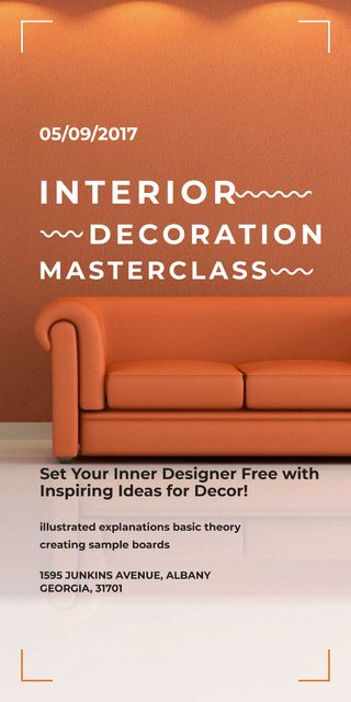 Plantilla de diseño de Interior decoration masterclass with Sofa in red Graphic