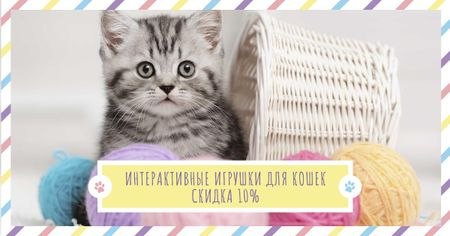 Pets Toys Offer with Cute Kitty Facebook AD – шаблон для дизайна