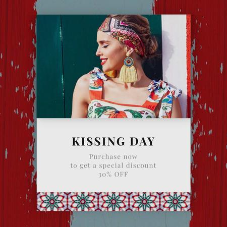 Designvorlage Kissing Day Sale Woman in Bright Dress für Animated Post