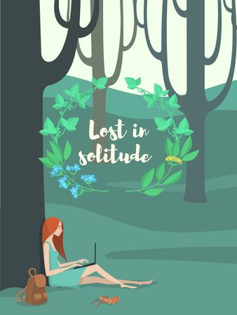 Ontwerpsjabloon van Poster US van Solitude Inspiration with Girl Working on Laptop in Park