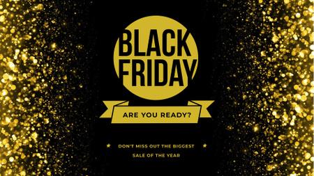 Ontwerpsjabloon van FB event cover van Black Friday Offer Announcement with Golden Glitter