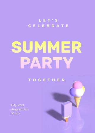 Ontwerpsjabloon van Invitation van Summer Party Announcement with Sweet Ice Cream