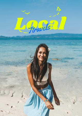 Local Travels Inspiration with Young Woman on Ocean Coast Poster – шаблон для дизайну