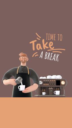 Platilla de diseño Barista Making Coffee by Machine Instagram Story