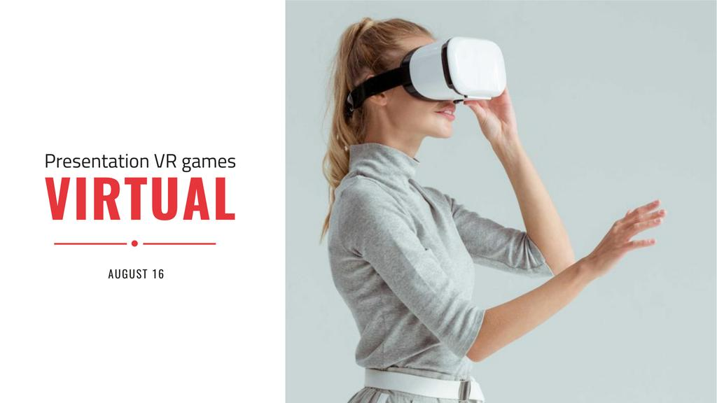 Designvorlage VR Presentation Announcement with Woman in Glasses für FB event cover