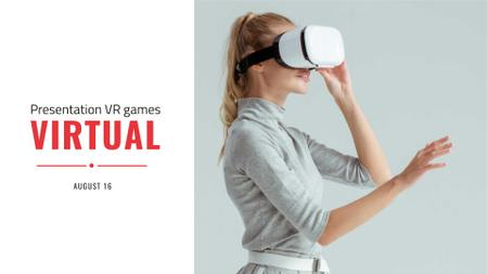 VR Presentation Announcement with Woman in Glasses FB event cover Modelo de Design