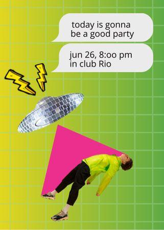 Ontwerpsjabloon van Invitation van Party Announcement with Disco UFO taking girl
