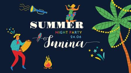 Template di design Summer Party Announcement with Brazilian Musician FB event cover