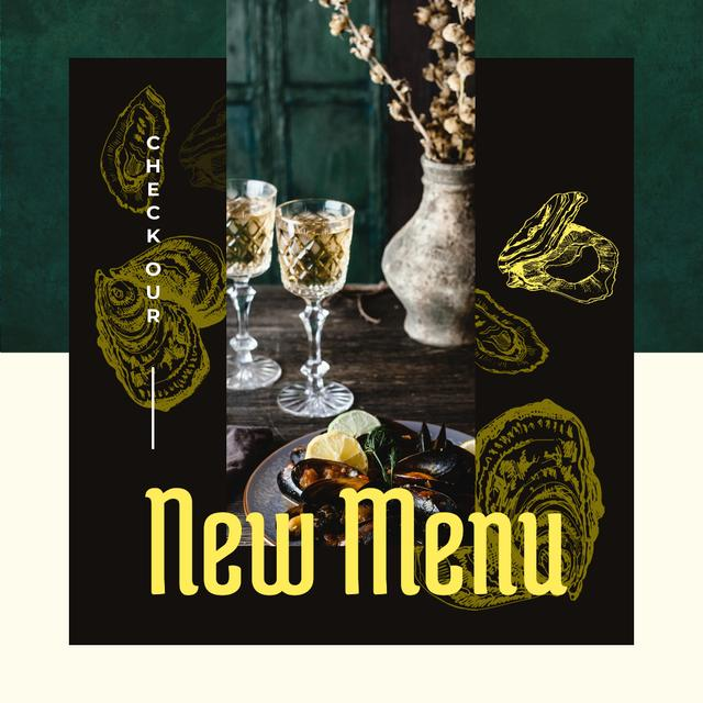 Plantilla de diseño de New Menu Ad with Served cooked mussels Instagram