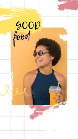 Plantilla de diseño de Smiling Woman with Orange Juice Instagram Story