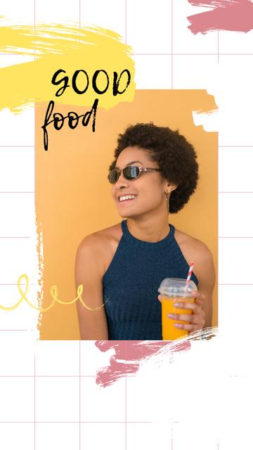 Smiling Woman with Orange Juice Instagram Story Modelo de Design