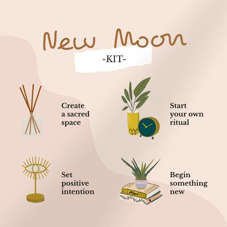 Template di design New Moon Kit illustration Instagram