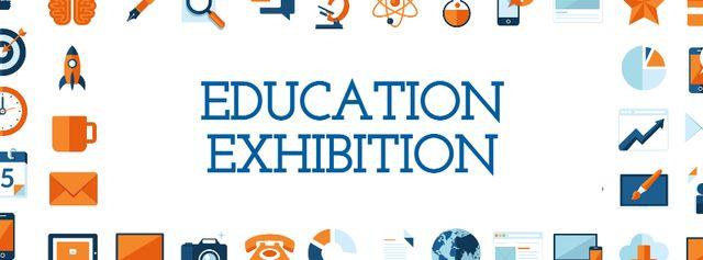 Education Exhibition Bright Sciences Icons Facebook cover – шаблон для дизайну