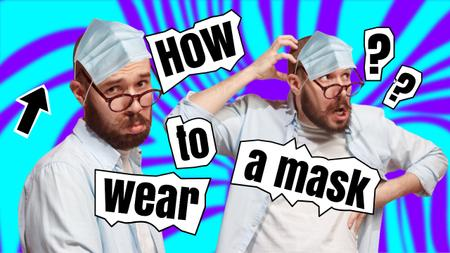 Designvorlage Blog Promotion with Funny Man in Face Mask für Youtube Thumbnail