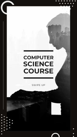 Designvorlage Computer Science Course Offer with Woman using Laptop für Instagram Story
