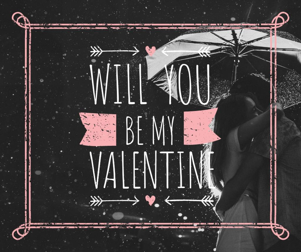 Template di design Valentine's Day Couple under umbrella Facebook