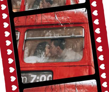Couple kissing in bus on Valentine's Day