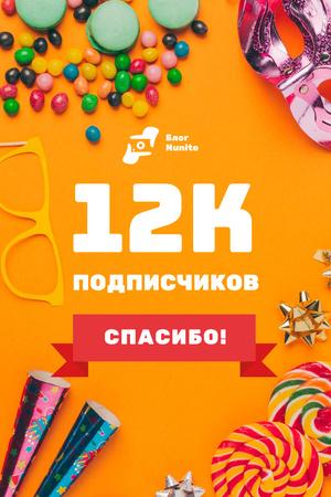 Blog Promotion with Party Attributes on Orange Pinterest – шаблон для дизайна