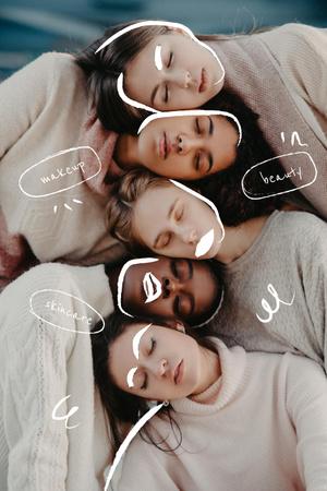 Plantilla de diseño de Beauty Inspiration with Diverse Young Women Pinterest