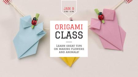 Plantilla de diseño de Cute Garland of Origami FB event cover