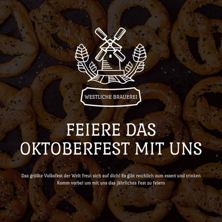 Oktoberfest Offer with Pretzels with Sesame Animated Post Modelo de Design
