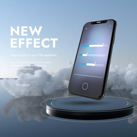 New App Effect with modern smartphone Animated Post – шаблон для дизайну