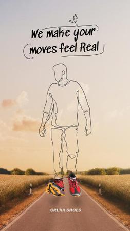 Silhouette of Man walking in comfortable Sneakers Instagram Story – шаблон для дизайну