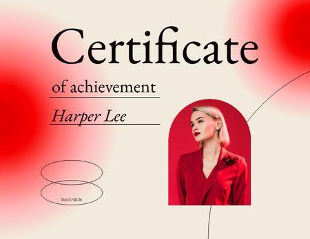 Achievement Award in Beauty School with Stylish Model Certificate – шаблон для дизайну