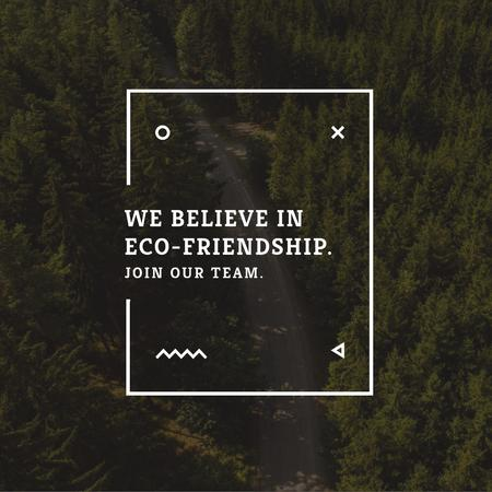 Plantilla de diseño de Ecology Quote with Forest Road View Instagram AD