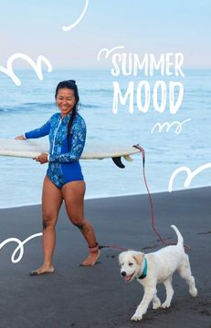 Girl with Dog and Surfboard