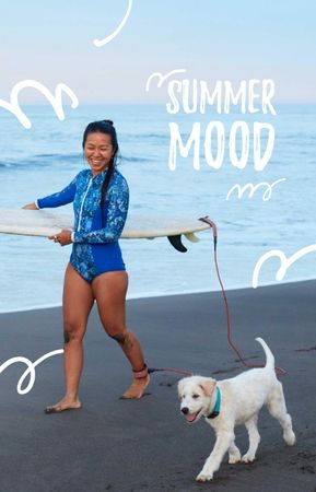 Plantilla de diseño de Girl with Dog and Surfboard IGTV Cover