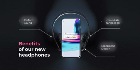 New Headphones Ad with Modern Smartphone Twitter Design Template