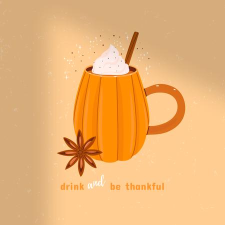 Platilla de diseño Thanksgiving Greeting with Cute Pumpkin Shaped Cup Instagram