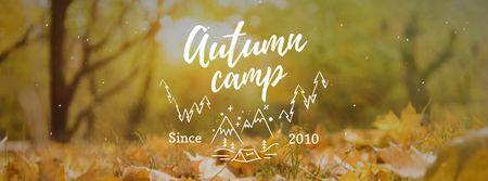 Plantilla de diseño de Autumn Foliage on Ground Facebook cover