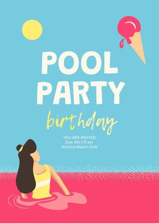 Plantilla de diseño de Birthday Party Announcement with Woman in Sweet Pool Invitation